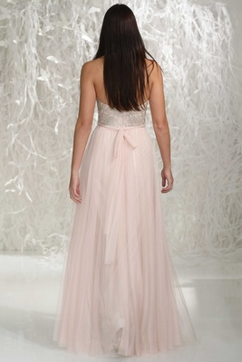 Wtoo Bridesmaids 2016 back of long bridesmaid dress with silver embroidery on bodice and pink skirt