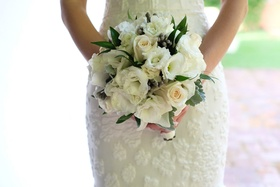 classic bridal bouquet white greenery dominican republic wedding small lovely romantic
