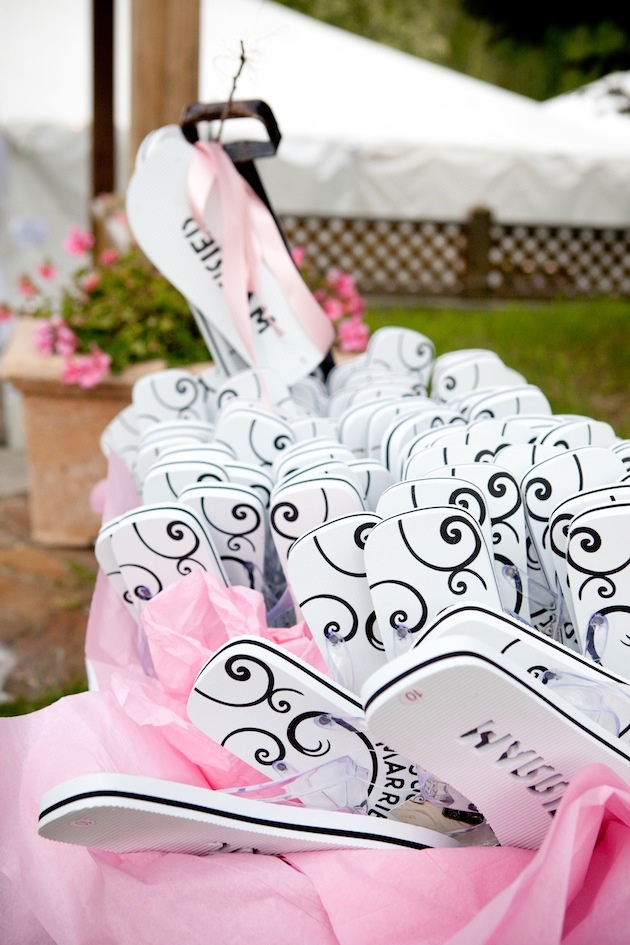 Favors Gifts Photos Black White Flip Flops Inside Weddings