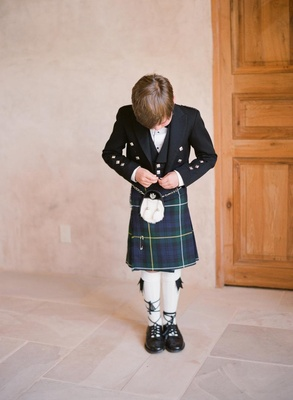 Mark-Paul Gosselaar's son in Scotland formal attire