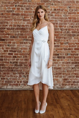28bf3bd352 David s Bridal spring 2018 presentation spaghetti strap drape silk satin  wedding dress short