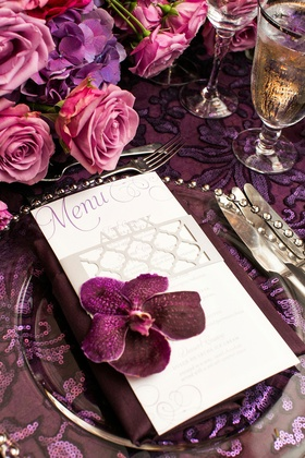 menu calligraphy pink purple flowers roses linens glass plateware orchid