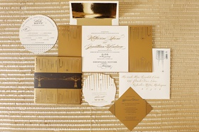 black, gold, and ivory fold out invitation suite with circles and squares