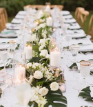 maui destination wedding, king's table, split leaves and roses, classic and tropical decor