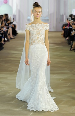 Sleeveless Alençon lace sheath with illusion bodice finished with detachable Watteau tulle cathedral