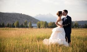 Wedding dress with bustle and Grand Teton