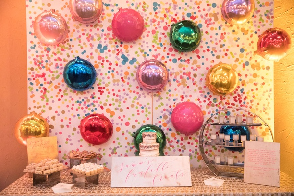 Samm's Funfetti Treats wedding dessert cake table sign funfetti fun theme balloons confetti backdrop