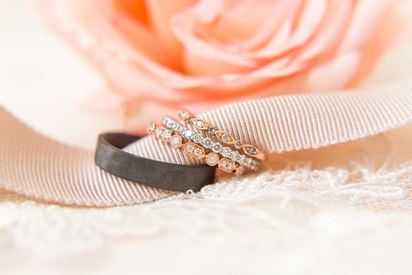 Bride wedding ring stacked bands rose gold white gold and men's black band
