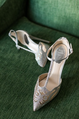 Wedding shoes bridal heels Rene Caovilla wedding heels sparkle crystal pattern t strap ankle strap
