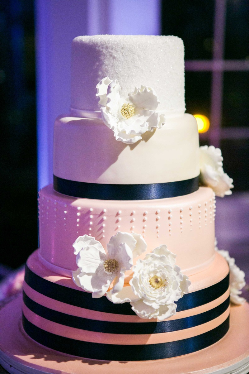 Cakes Desserts Photos Ombre Wedding Cake With Navy Ribbon