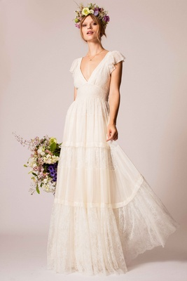 Temperley Bridal 2016 Flutter Sleeve Tiered Lace Skirt V Neck Wedding Dress
