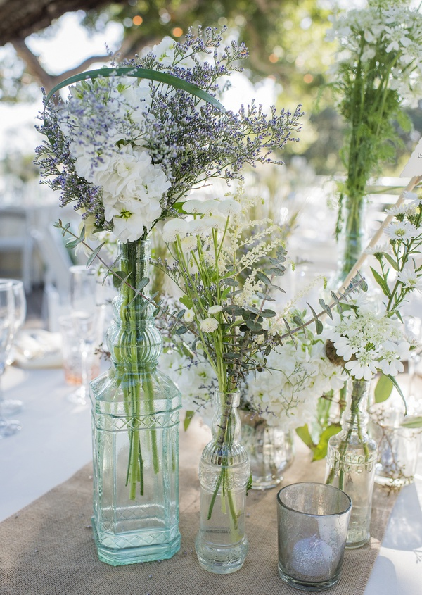 Reception Dcor Photos Wildflower Arrangements In Glass Vases On