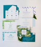 Wedding invitation blue green teal turquoise destination wedding charleston south carolina palm