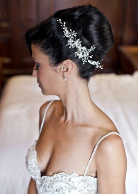 silver crystal headpiece in floral pattern for bridal updo