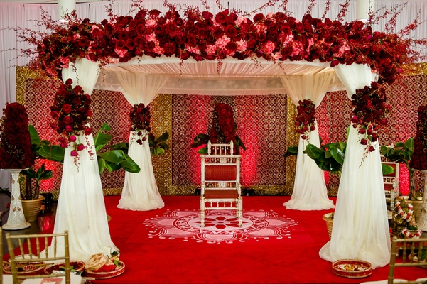 Indian wedding canopy with lotus flower painting