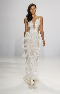 Christian Siriano for Kleinfeld Bridal illusion wedding dress with feather details on skirt