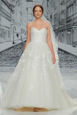 Justin Alexander Spring Summer 2017 strapless ball gown a line wedding dress sequin applique veil