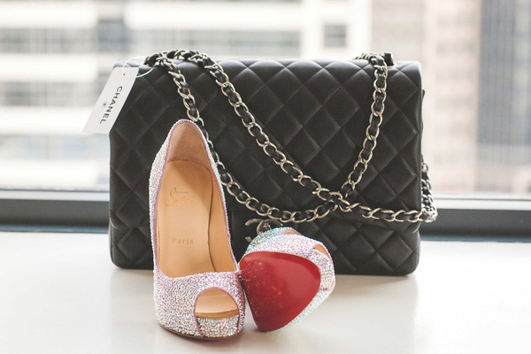 Black quilted Chanel purse for bride with sparkling glitter peep toe Christian Louboutin pumps