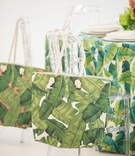 tropical wedding inspiration, banana leaf print tote bags, acrylic chiavari chairs