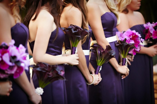 Purple calla lily bouquet and multi flower bridesmaid bouquet