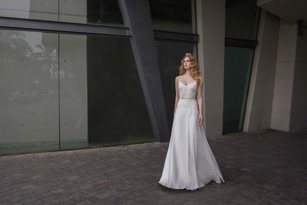 Limor Rosen 2017 Lillian wedding dress v-neck sheath blouson top chiffon skirt