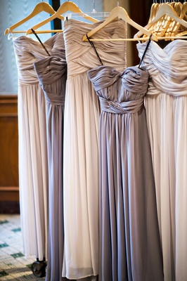 purple-gray and taupe bridesmaid dresses with ruched bodices
