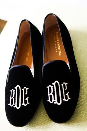 black velvet slippers with couple's monogram