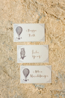 Hot air balloon and owl place cards