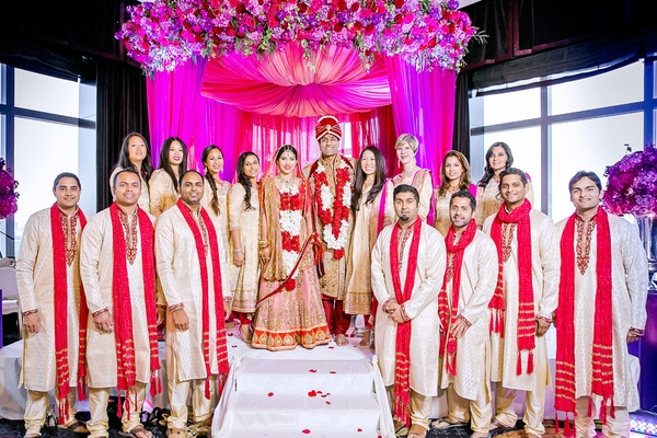 indian-american bride and groom with their bridesmaids and groomsmen