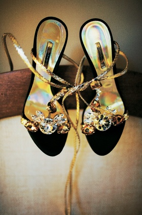 Black open toe wedding shoes with jewels