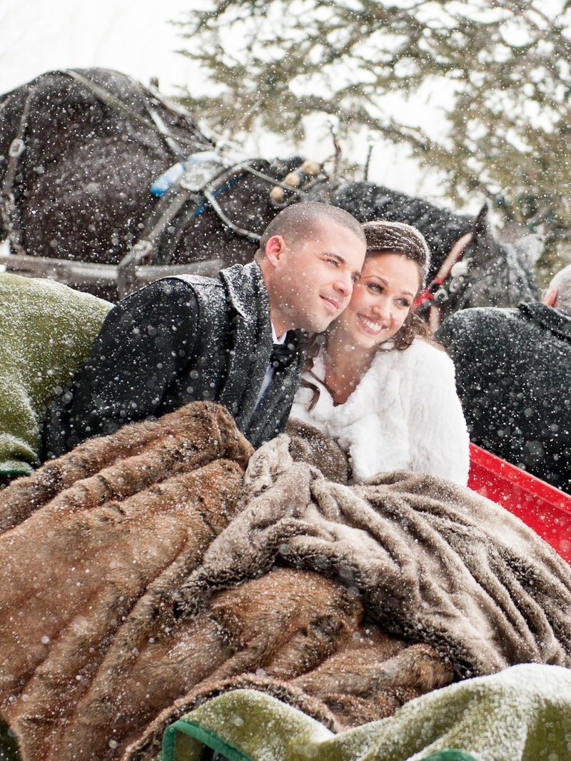 Winter wedding bride and groom with blankets