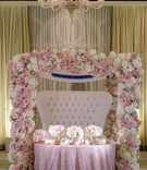 wedding reception ballroom sweetheart table tufted settee pink white flowers pink linen chandelier