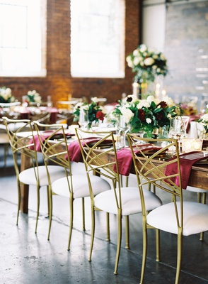 wedding reception glam modern industrial chic brick wall white gold chameleon chair collection chair