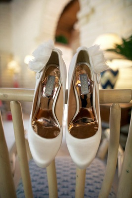 Badgley Mischka white wedding pumps