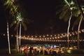 destination wedding in maui, outdoor reception at night with bistro lights and palm trees