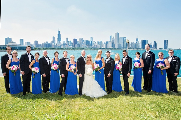bride in vera wang, groom in vera wang, bridesmaids in cobalt blue bill levkoff, lake michigan