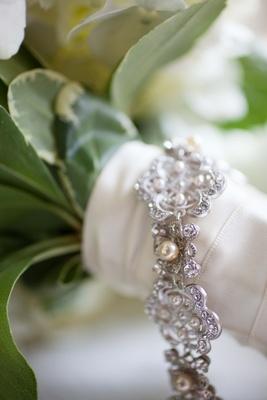 Bride's silver-tone pearl and rhinestone bracelet