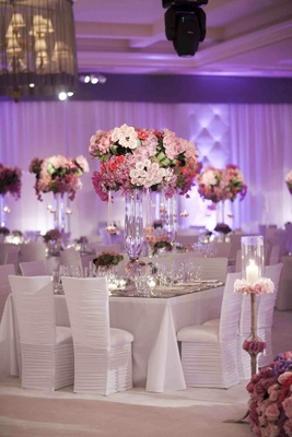 Ballroom reception tablescape and chairs