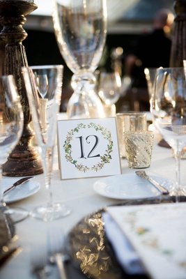wedding reception table number gold border black calligraphy orange and greenery motif mercury glass