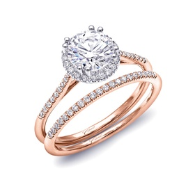 Rose Gold ring with round diamond halo and band