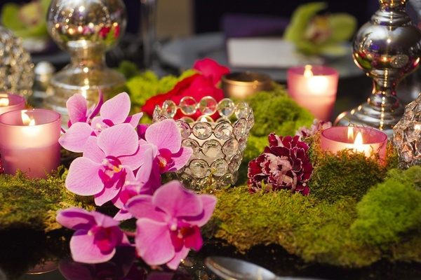 Bling candle votive with orchid and moss
