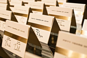 wedding escort cards 50th wedding anniversary party gold foil fifty years of love cards tent