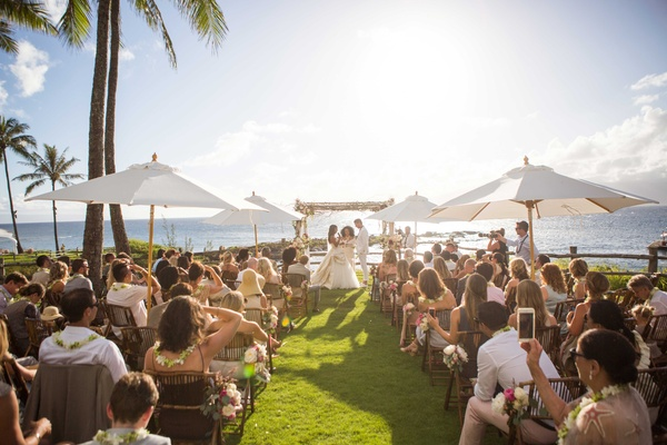 Diana Ross officiates Chudney Ross Joshua Faulkner destination wedding Montage Kapalua Bay in Maui