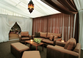 Brown and white lounge seating area