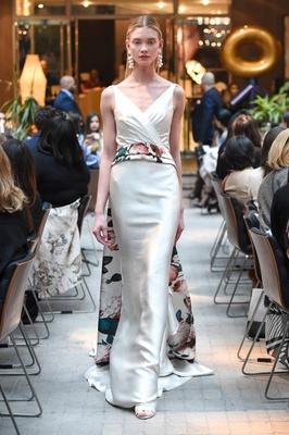 Sachi & Babi Spring/Summer 2018 Draped silk Mikado flared sheath gown botanical printed sash