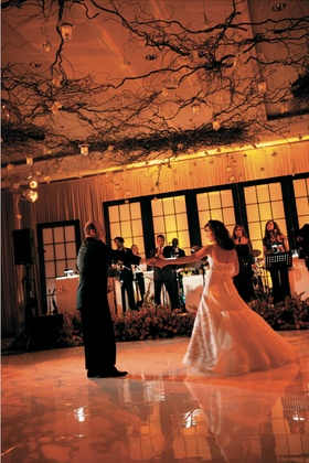 Bride and groom's first dance under branches and candles