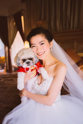 Chinese woman in wedding dress with puppy in red outfit