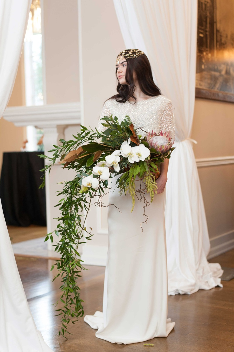 Bouquets Photos Bride With Cascading Bouquet With Greenery