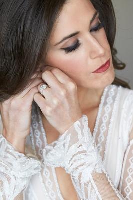 Elegant wedding day makeup dark lip and smokey eye double halo engagement ring inbal dror dress