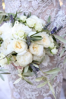 bridal bouquet of white peonies, lavender, olive leaves